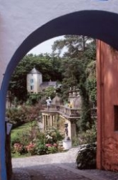 Portmeirion Village seen through archway
