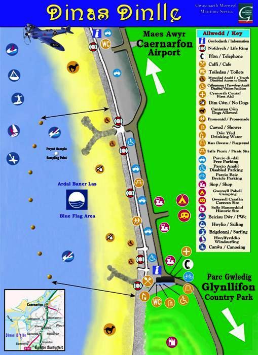 Dinas Dinlle beach map