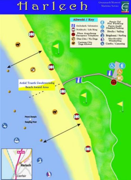Harlech beach map