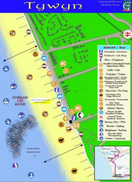Tywyn beach map