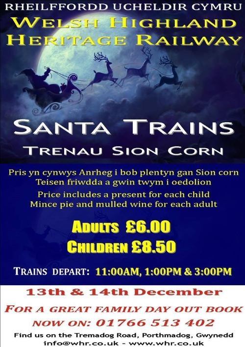 Santa trains on the Welsh Highland Heritage Railway