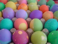 brightly painted eggs